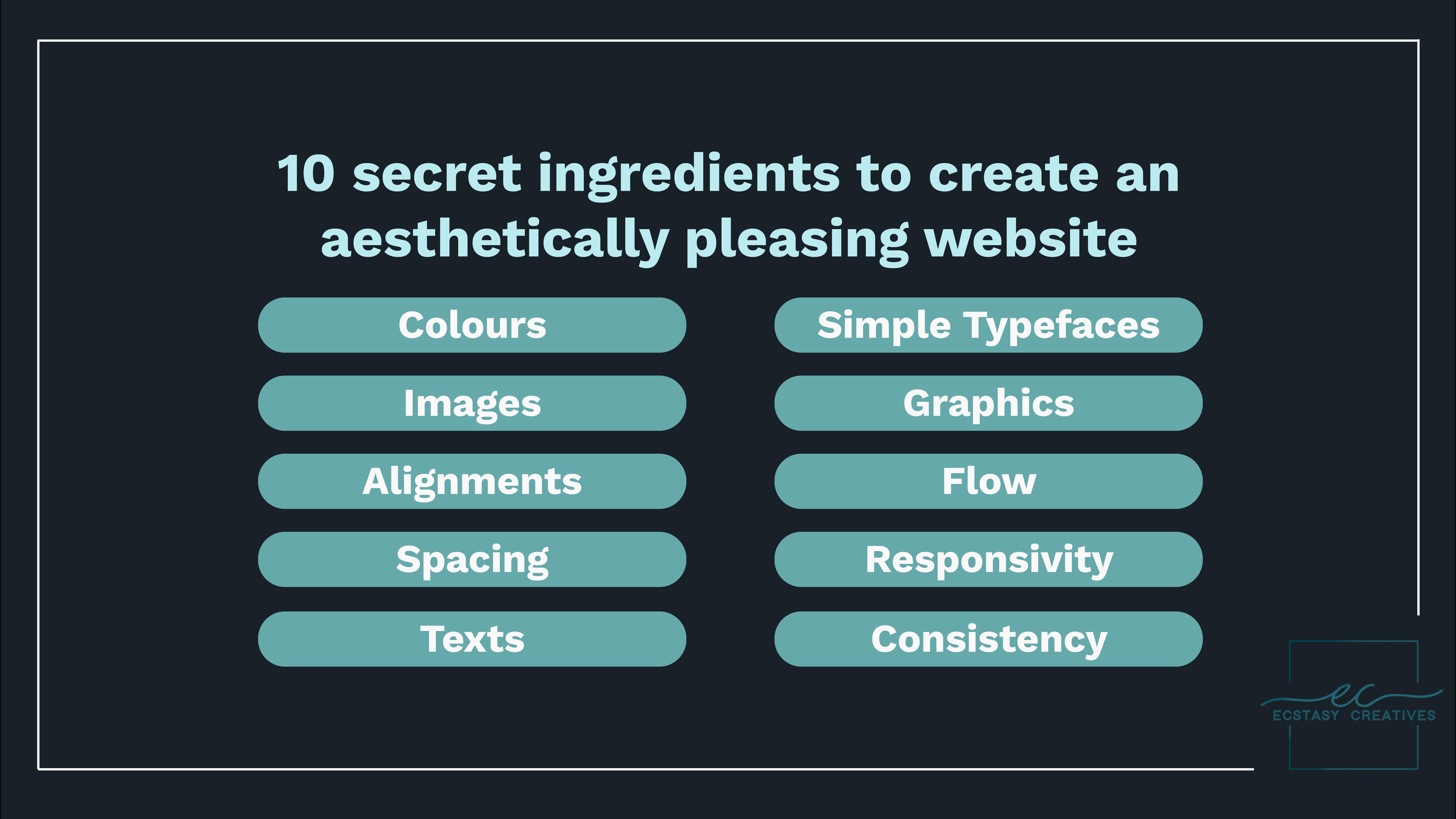 10 secret ingredients to create an aesthetically pleasing website